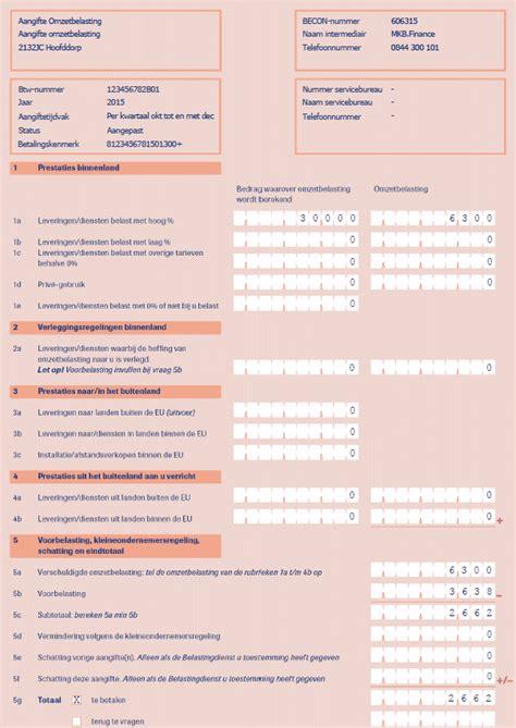 aangifte omzetbelasting voorbeeld zzp boekhouder organisatie