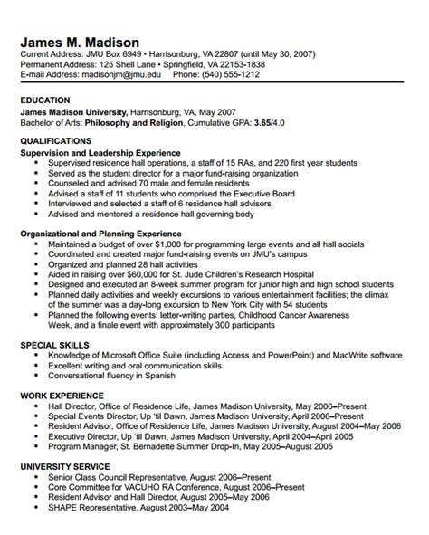 Chronological Resume Sle For College Student by Resumes Format