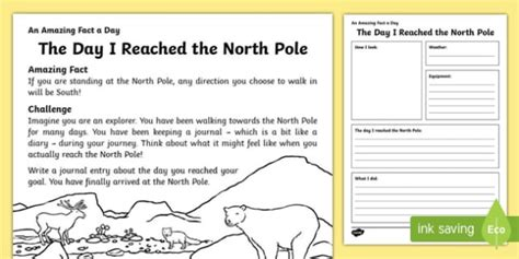 The Day I Reached The North Pole Worksheet  Activity Sheet