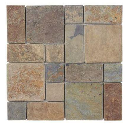 Home Depot Wall Tile Class by Jeffrey Court Rust Block Medley 12 In X 12 In X 8 Mm