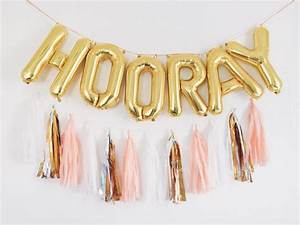 hooray balloons gold letter balloon tassel garland set With gold inflatable letters