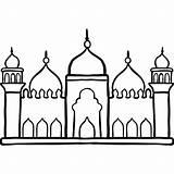 Mosque Drawing Masjid Outline Badshahi Sketch Template Getdrawings Coloring sketch template
