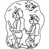 Hikers sketch template
