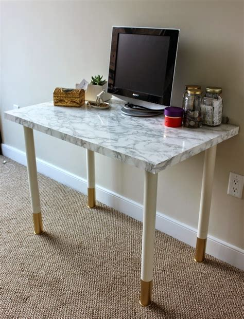 white marble desk how to with marble contact paper