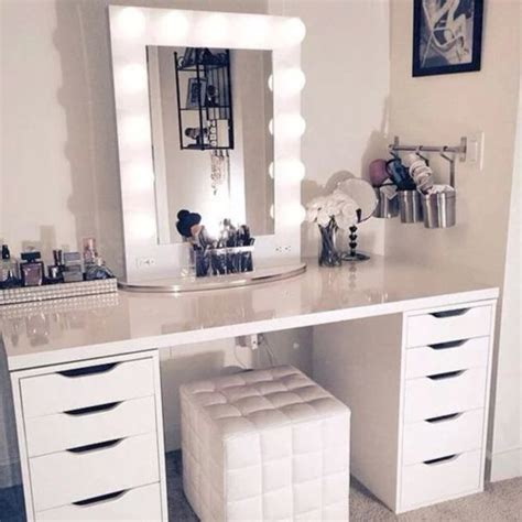 white desk with mirror and lights makeup dressing table mirror lights makeup vidalondon