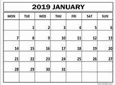 January 2019 Calendar Excel Word Template