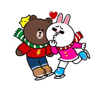 brown  cony winter romance stickers  social media