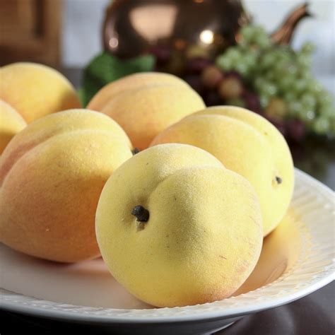 fuzzy artificial clingstone peaches vase  bowl