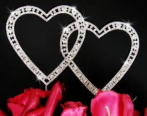 Crystal Double Heart Vintage Cake Topper