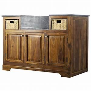 Meuble Bas Cuisine 120 Cm : meuble bas de cuisine en bois de sheesham massif l 120 cm ~ Dode.kayakingforconservation.com Idées de Décoration
