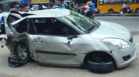 hyderabad two killed as car rams into metro pillar