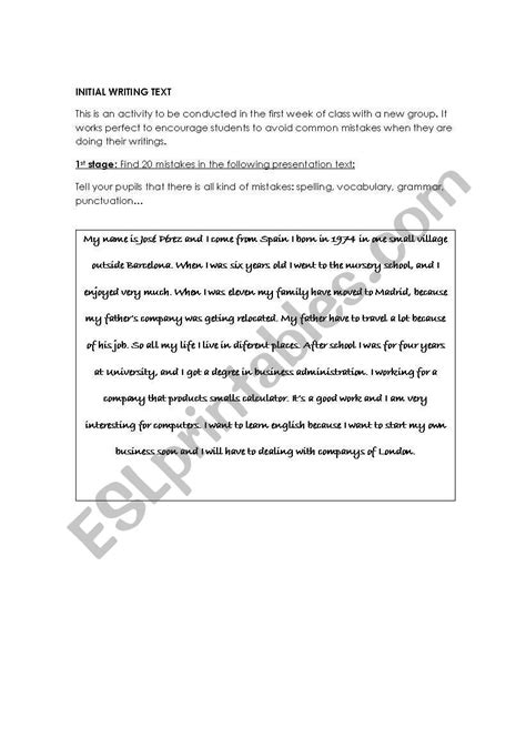 worksheets common writing mistakes exercise