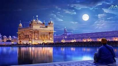 Temple Golden India Punjab Wallpapers Amritsar Moon