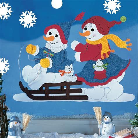 basteln weihnachten tonpapier fensterbild bastelvorlage winterfreunde fischer fensterbilder