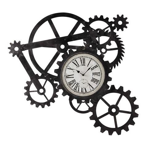 tableau chambre bebe horloge indus en métal l 86 cm engrenage maisons du monde