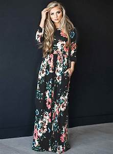 women39s boho floral long sleeve maxi dress roawecom With robe noire ete 2017
