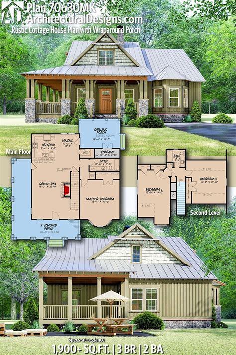 Plan 70630MK: Rustic Cottage House Plan with Wraparound