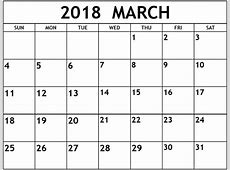 March 2018 Calendar Printable Template USA Canada UK