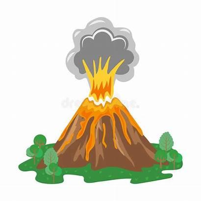 Volcano Eruption Lava Illustration Erupting Smoke Vector