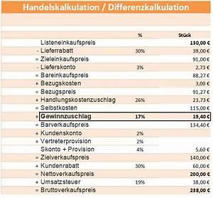 Listeneinkaufspreis Berechnen : differenzkalkulation kalkulationsschema handelskalkulation gewinn verlust berechnen lernen ~ Themetempest.com Abrechnung