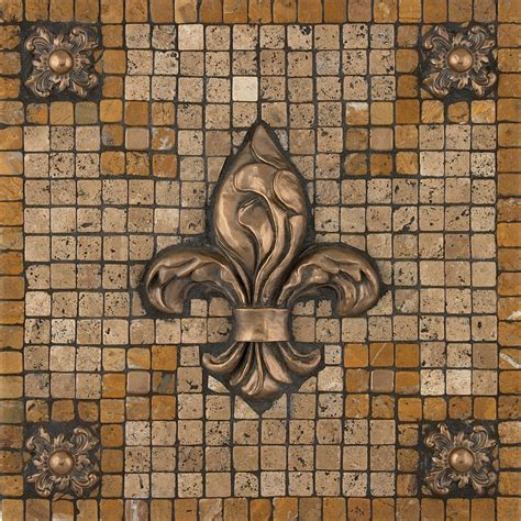 ideas for kitchen backsplash metal mural bevano fleur mosaic tile backsplash 4395