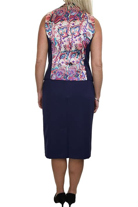 floral lined waistcoat skirt suit navy blue