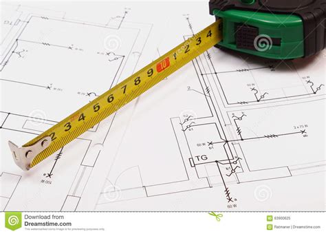 Home Design Game Tape Measure : Tape Measure On Electrical Construction Drawing Of House