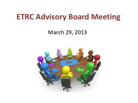 etrc advisory board meeting march
