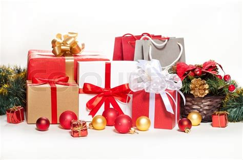 gifts and decorations on a white background stock photo colourbox