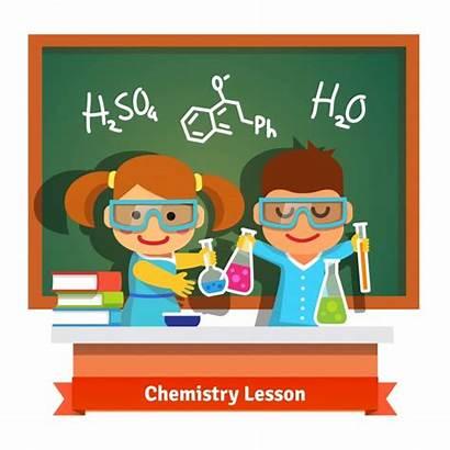 Chemistry Fun Lesson Having Vector Cartoon Illustration