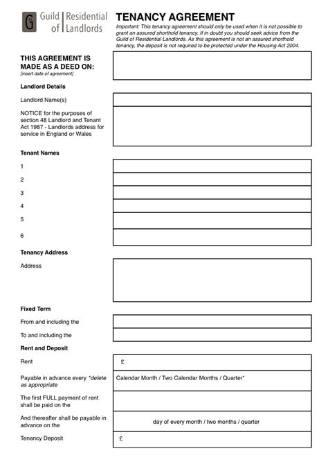 contractual common law tenancy agreement grl landlord