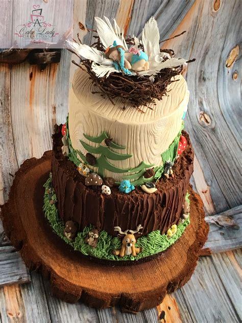 woodland animals cake topper baby owl  nest baban shower