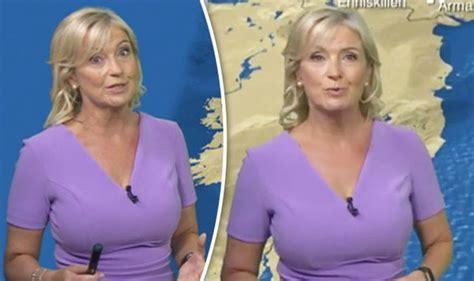 bbc weather busty carol kirkwood wows fans  figure hugging frock hottest reporter tv