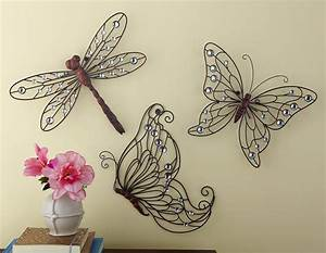 3 pc metal lacy scrollwork butterfly dragonfly w acrylic With home ideas with dragonfly wall decals