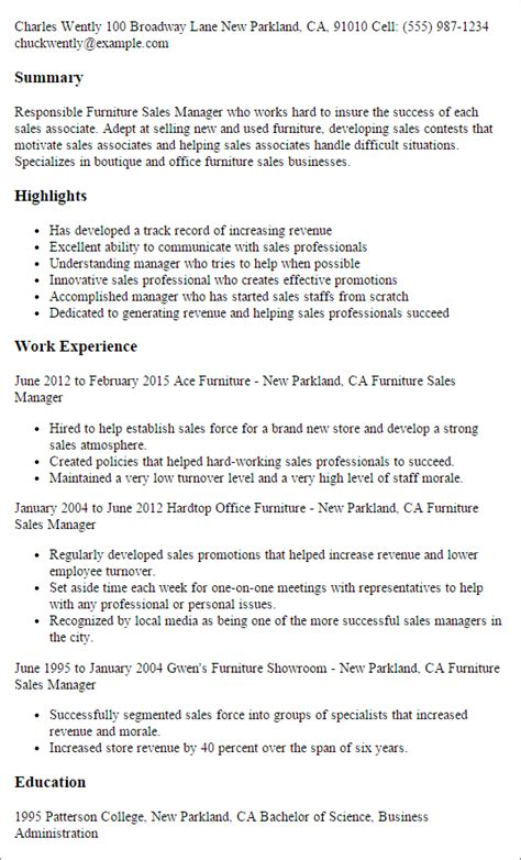 cover letter for furniture sales position professional furniture sales manager templates to showcase your talent myperfectresume