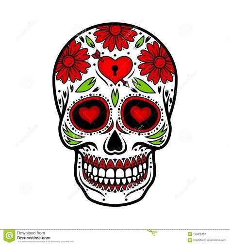 day   dead skull skull sugar flower stock vector illustration  padlock mexican