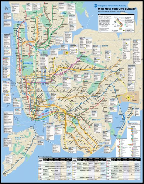 large  york city subway metro map  york usa