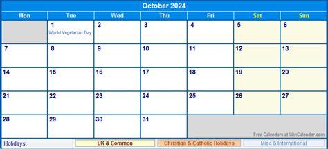 october  uk calendar  holidays  printing image