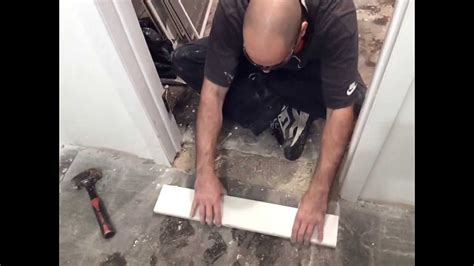 install  doorway marble threshold basement