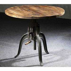table de salle a manger ronde rehaussable style industriel With salle a manger table ronde