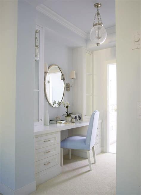 white  blue dressing room transitional bathroom