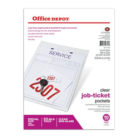 office depot brand job ticket holders 9 x 12 pack of 10 by