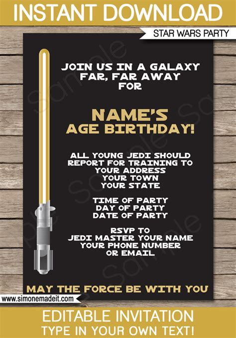 gold star wars invitations editable template birthday