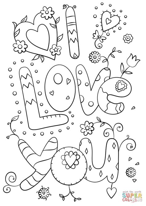 Print and color valentine's day pdf coloring books from primarygames. I Love You coloring page | Free Printable Coloring Pages