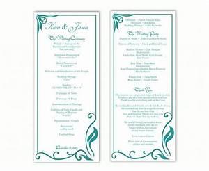 wedding ceremony programs templates wedding program template diy editable text word file