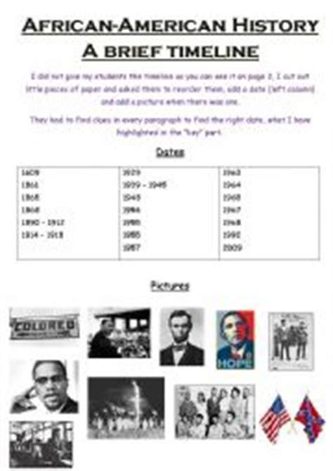 english worksheets african american timeline black history