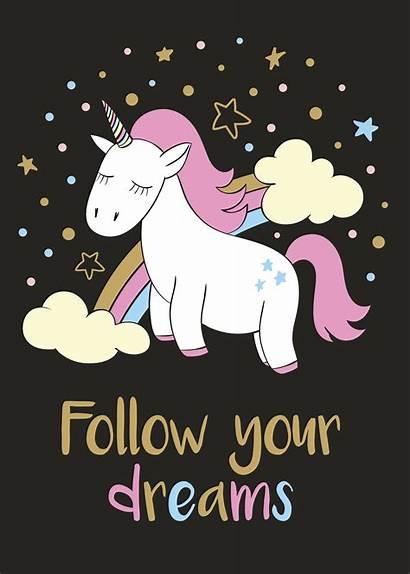 Unicorn Cartoon Dreams Follow Posters Magic Shirt
