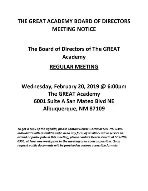 tga board  directors meeting notice