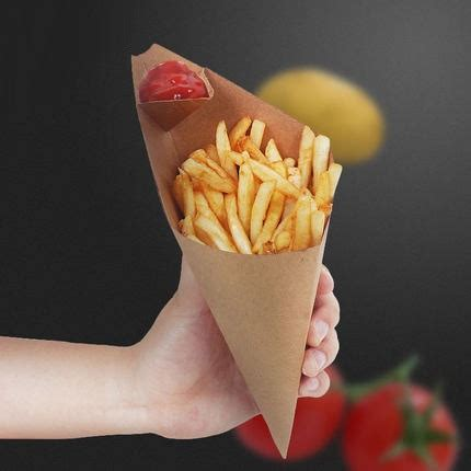 french fries box cone chips oil proof bag triangle chips