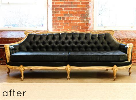 Spray Paint Leather Sofa by Before After Painted Sofa Design Sponge
